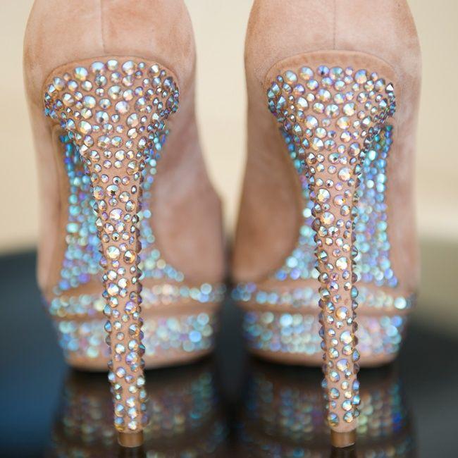 Rhinestone studded bridal pumps | Sandra Tenuto Photography | Brian Atwood