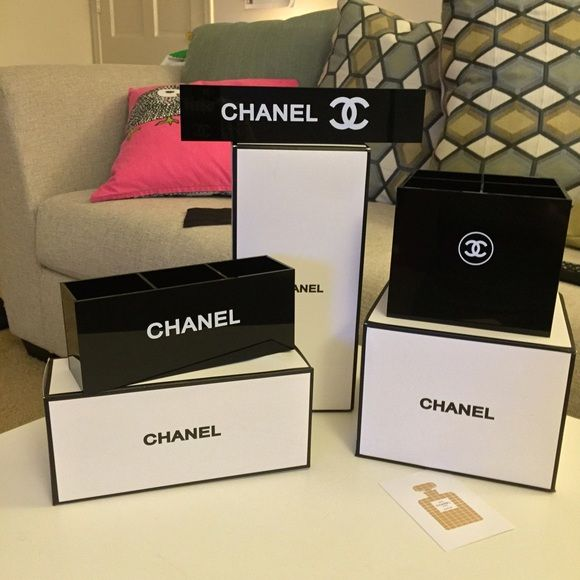 Chanel Makeup organizer set   $160 on ♏️ercari 3 glossy black beautiful Chanel makeup organizer set  - 14 lipstick holder - 4 brush holder - 3 brush holder ( lip liner, eyeliner, mascara...etc)                                                               Comes with the boxes.                                                 (it was a gift from Chanel counter) CHANEL Bags Cosmetic Bags & Cases