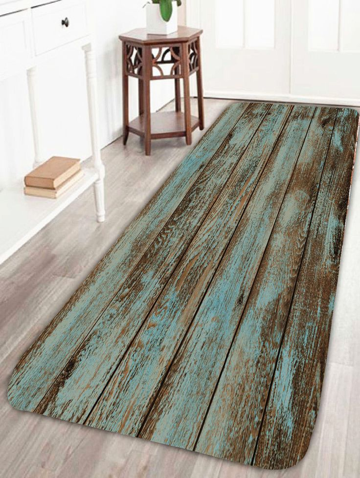 Vintage Wood Grain Print Bathroom Rug