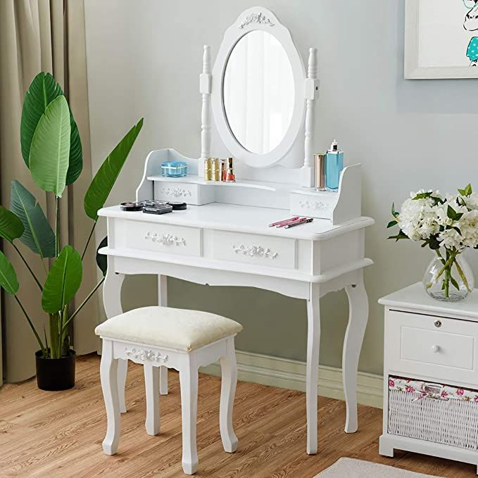 Charmaid Makeup Table With Rotatable Mirror And 4 Drawer Princess Girls Women Dressing Tab Dressing Table Vanity Mirror Jewelry Storage Bedroom Furniture Sets