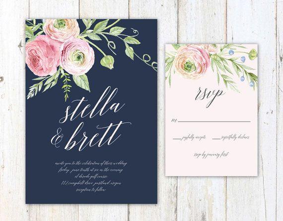 Rustic Wedding Invitation, Navy Blush and Cream Wedding Invitation by AlexaNelsonPrints