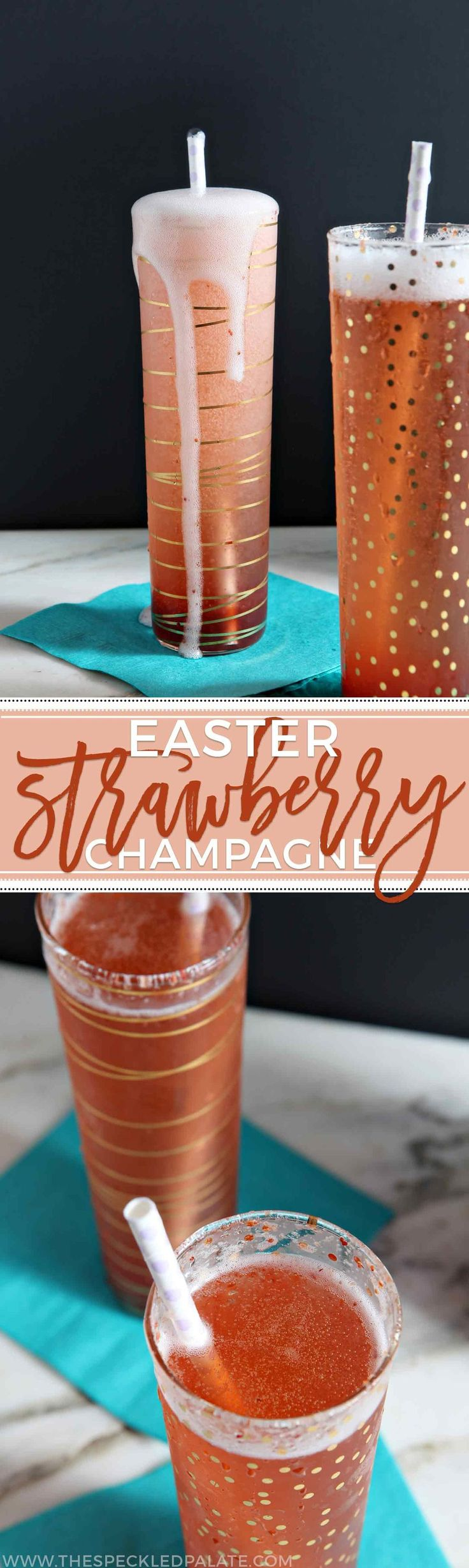 Easter brunch never looked so good! Rosé Champagne mixes with strawberry simple syrup to create these pink Easter Strawberry Champagne cocktails. #recipe #brunch #cocktail #cocktailrecipes