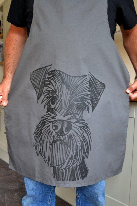 Schnauzer Apron Screen Printed Schnauzer Apron A Dog Lovers Etsy Dog Lovers Schnauzer Prints