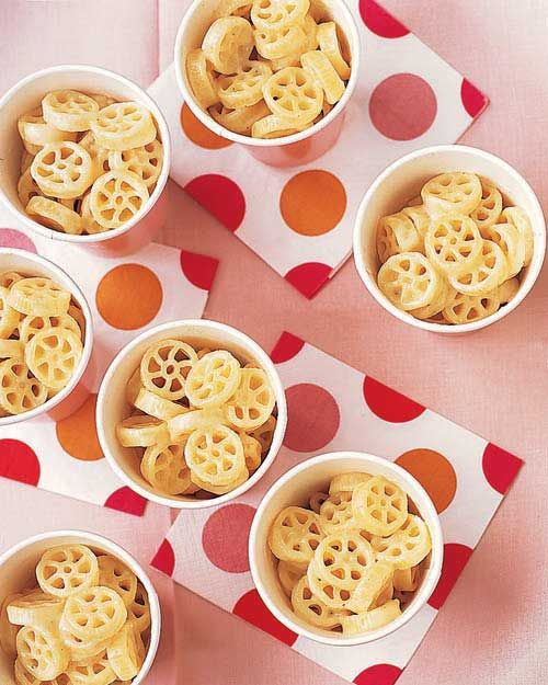 "Pasta Wheels and Cheese - Martha Stewart Recipes  ""Train Wheels"" Perfect food to serve!!"