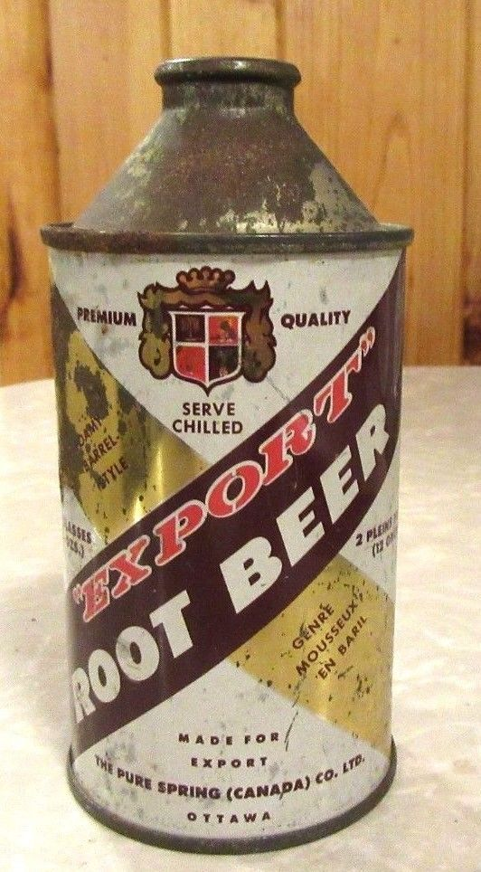 Early 1950's Pure Spring Export Root Beer Cone Top Soda Pop Can Canada | eBay