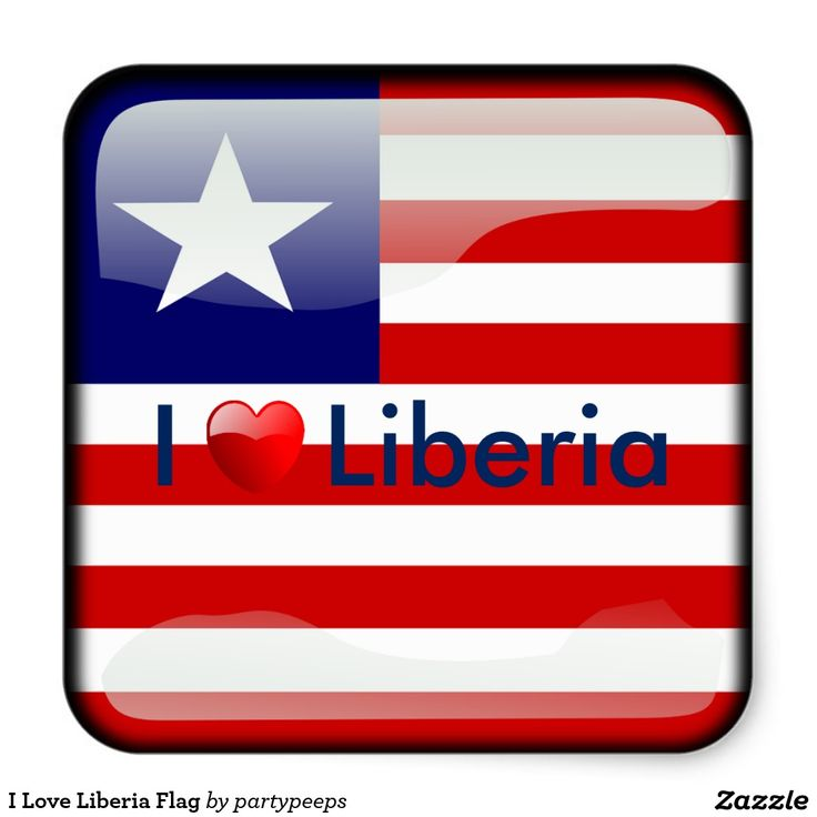 I Love Liberia Flag Square Sticker