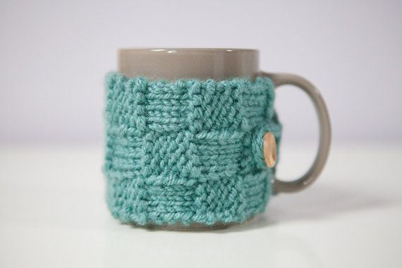 A PAIR OF Teal/Green coloured check pattern mug by SweetMaya, £8.50