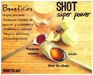 Shot: Limón, ajo, pimienta cayena y miel