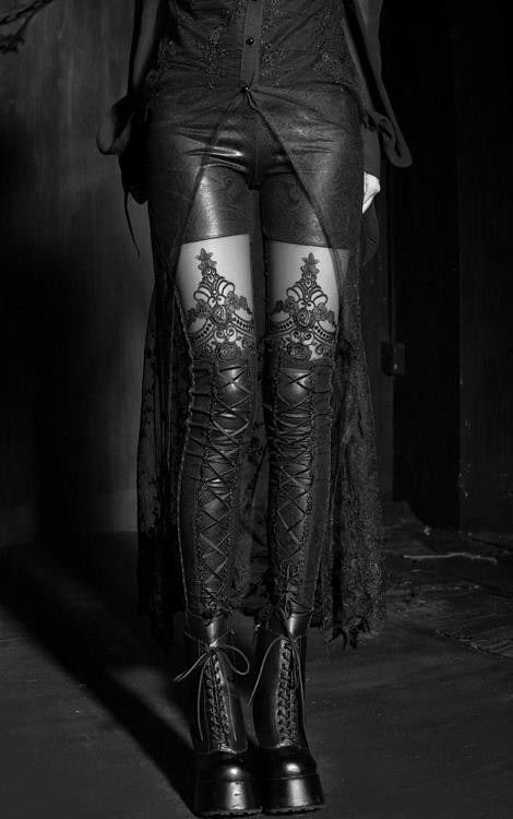 Boots and tights and leggings seem to fall into one in this image but either way it's beautiful