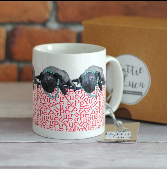 Black Pug mug.  Illustrated pug ceramic mug.  by DottieAndLuca