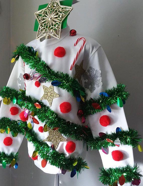Walking Christmas Tree Part - 16: Walking Christmas Tree Ugly Christmas Sweater Made On A New | Ugly Christmas  Sweaters | Pinterest | Ugliest Christmas Sweaters, Christmas Tree And Craft