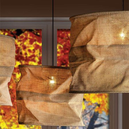 Jute Rustic Sack Pendant Light - click through for sizes and pricing