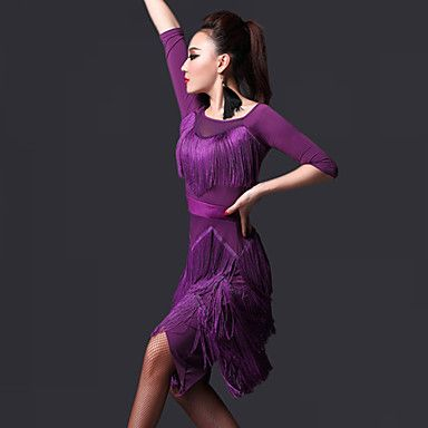 Latin+Dance+Dresses+Women's+Performance+Chinlon+Tassel(s)+2+Pieces+Dress+Shorts+85-100+–+USD+$+89.99