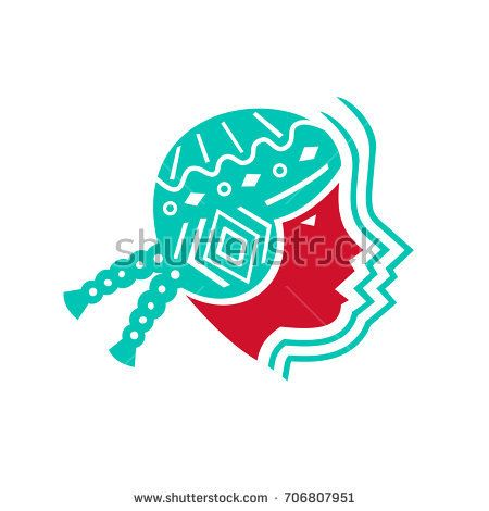 Icon style illustration of Peruvian South American girl viewed from side on isolated background.  #peruviangirl #icon #illustration