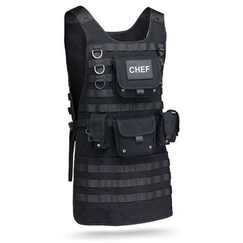 Tactical Chef Apron: You are the first responder of the roast. You are the guardian of the grill. You are the strategic commanding officer of the savory meats. Isn't it about time you dress the part? Finally a manly bloody meat juice splatter guard fit for a commando. ...Read More @ http://greateststuffonearth.com/tactical-chef-apron/