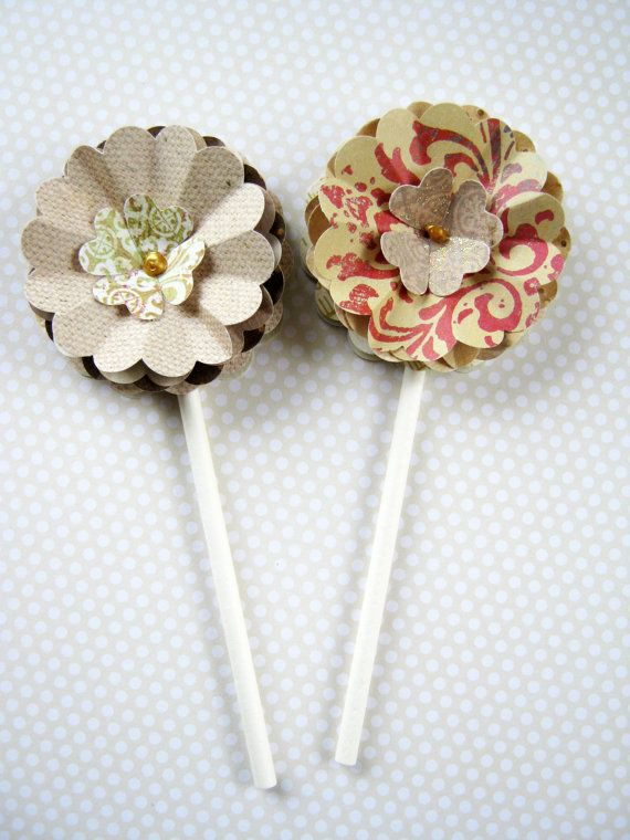 Paper Flower Party Favors Set of 6 upcycled paper by littledebskis ~ SOLD!!!