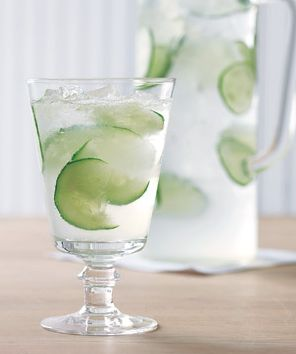 Cucumber Lime Spritzer: In a pitcher mix 2 12-ounce cans of club soda, 1/4 cup of fresh lime juice and one cucumber thinly sliced.This is a refreshing alternative to plain water for your ice water teas.