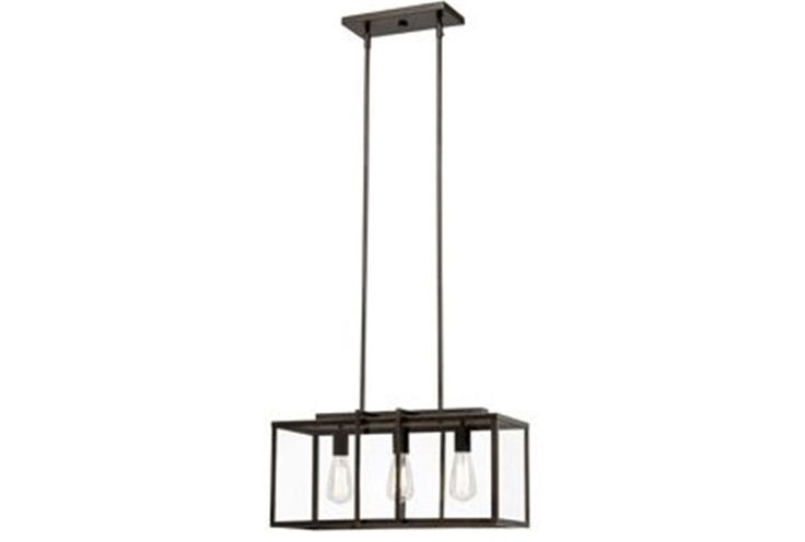 Dining Room or Kitchen: Pendant- Cabot Bronze Rectangle