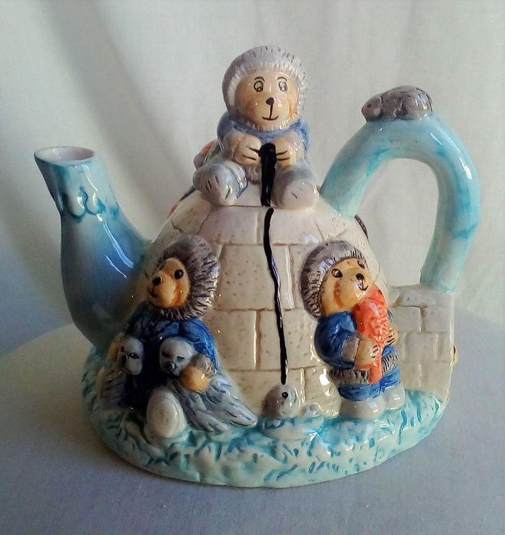 Vintage Ceramic Eskimo Bears Igloo Teapot With Lid -London England - Animal Teapot Tea Pot - Novelty Teapot