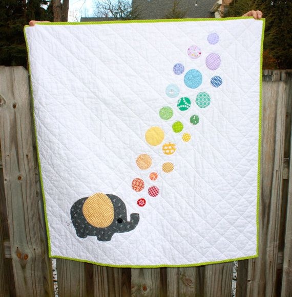 Elephant Baby Quilt Bubbles Rainbow Gender Neutral Ready to Ship