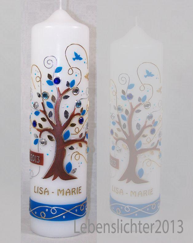 Taufkerzen - Taufkerze Lebensbaum Mittelblau - ein Designerstück von Lebenslichter bei DaWanda