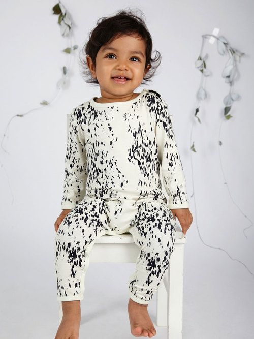 Mad About Mini / Sea Leopard LS Jumpsuit in Snow