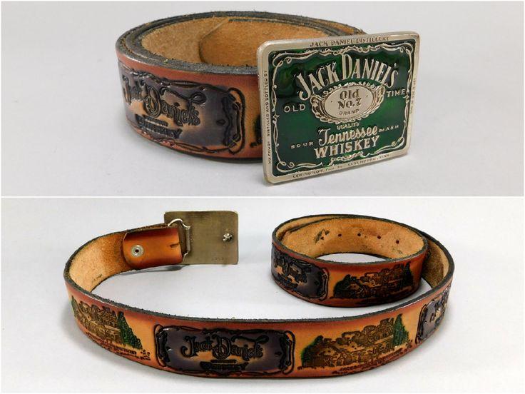 Original Vintage Jack Daniels Distillery Hand Tooled Belt with Green Enameled Buckle. Old No. 7 Logo