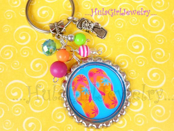 Personalized FLIP FLOP Key Chain Summer Fun You by HulaGirlJewelry, $12.00