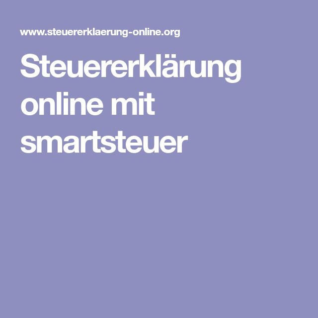 Steuererklärung online mit smartsteuer