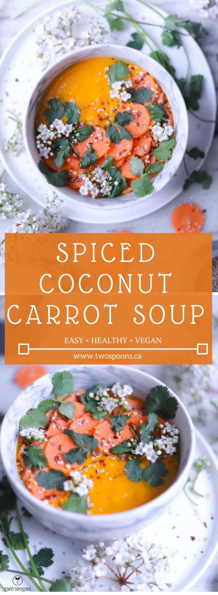 SPICED COCONUT CARROT SOUP | Easy, Healthy, Vegan, Gluten-Free | TWO SPOONS