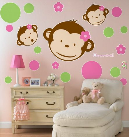 funny monkey animals cartoon pink wall stickers decals for teenage kids bedroom design ideas beautiful pink - Wall Sticker Design Ideas