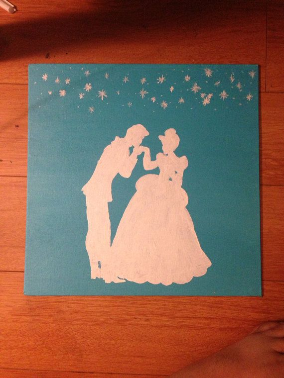 Cinderella And Prince Charming Silhouette Acrylic Painting