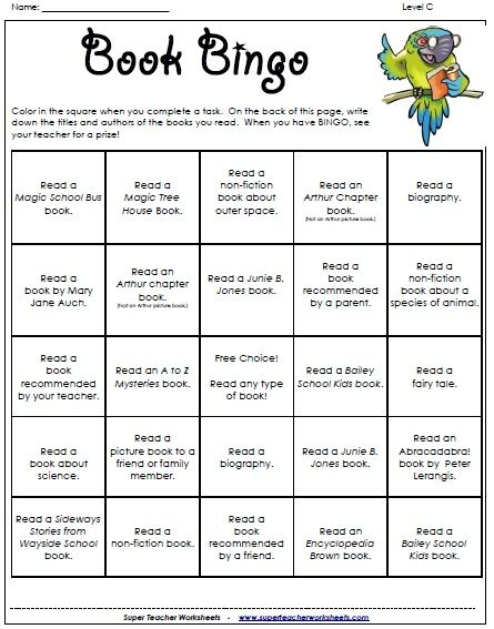 Book Bingo - a fun way to encourage students to read different kinds of books