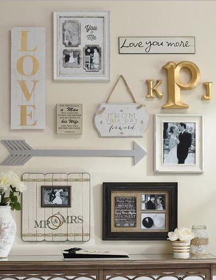 Gallery wall- mix of wood letters, framed photos, framed maps/art, wood and/or metal symbols, mirrors