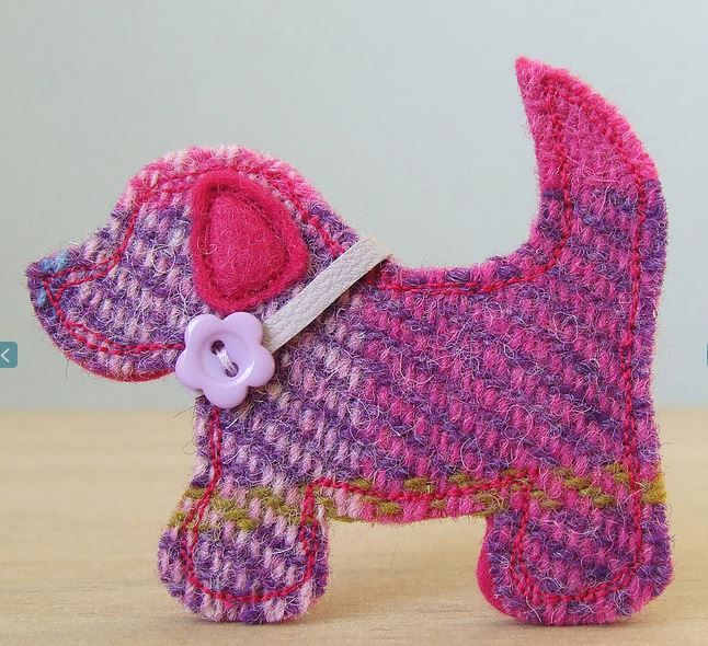 Harris Tweed Dog Brooch | I heart felt