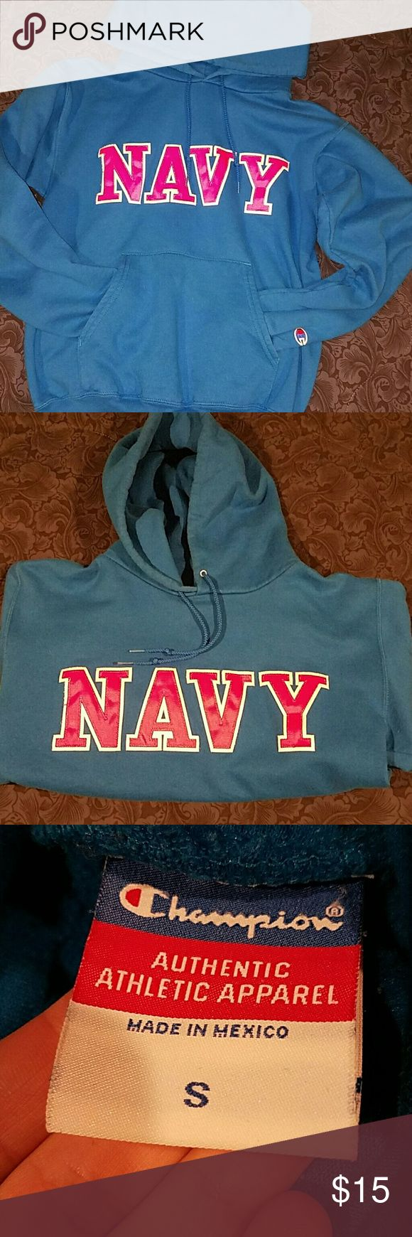 Navy Hoodie Hot pink lettering on turquoise background. Champion Tops Sweatshirts & Hoodies