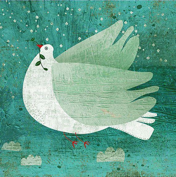 NOAH'S DOVE art print // turquoise illustration