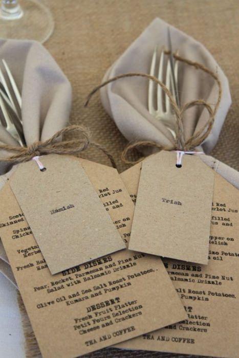 For a rustic wedding tie menu, cutlery, place card and napkin together. Photo Source: pinterest #weddingmenu #reception #rusticweddings