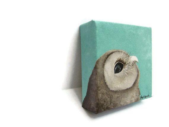 Cute Owl Art Block Painting Aqua Blue Children Kids Room Cottage Chic Infant Nursery Mini
