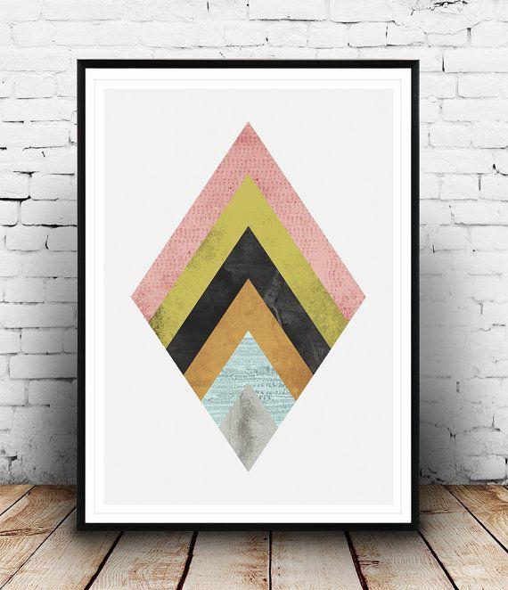 Geometric art, Watercolor abstract, Minimalist print, Abstract art, scandinavian design, modern wall art, diamond print, triangle print