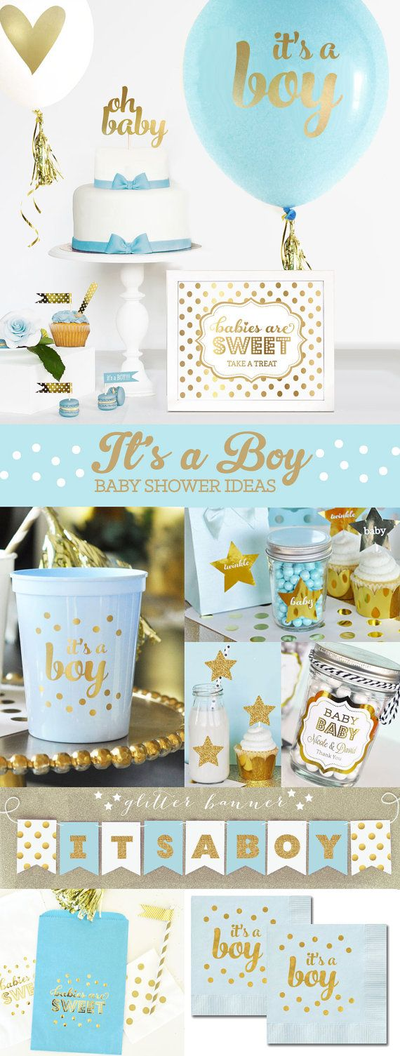 Blue and Gold Baby Shower Decorations and Ideas for a Prince Baby Shower Theme!  by Mod Party