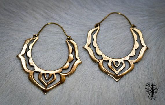 Large Brass Lotus Hoop Earrings, Tribal Earrings, Mandala Earrings, Tribal Jewellery, Brass Hoops, Ethnic Jewelry, Bohemian Earrings