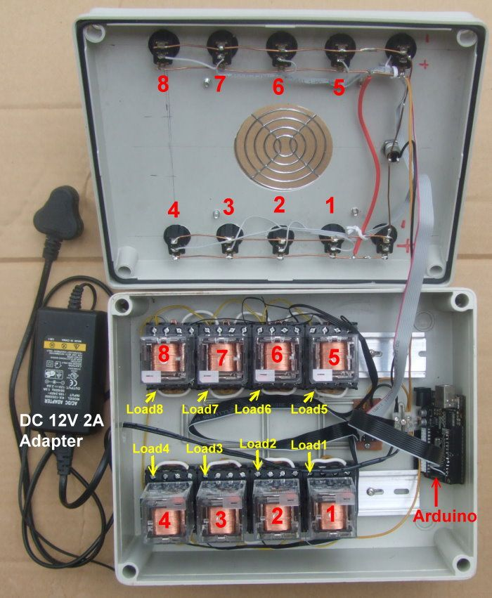 this is a 8 channel relay box that the input connect to a controller allow it to control large loads like home appliances im using this relay