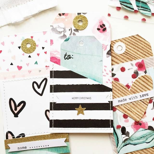 Xmas tags - Bylaeti - Crate Paper - Hello Love Collection - Scrapbook Werkstatt