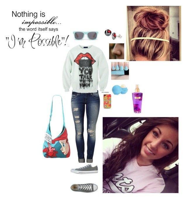 """""""What a Beautiful Rainy Day ;)"""" by hazzasgirle ❤ liked on Polyvore featuring Mavi, Converse, Disney, WALL and Victoria's Secret"""