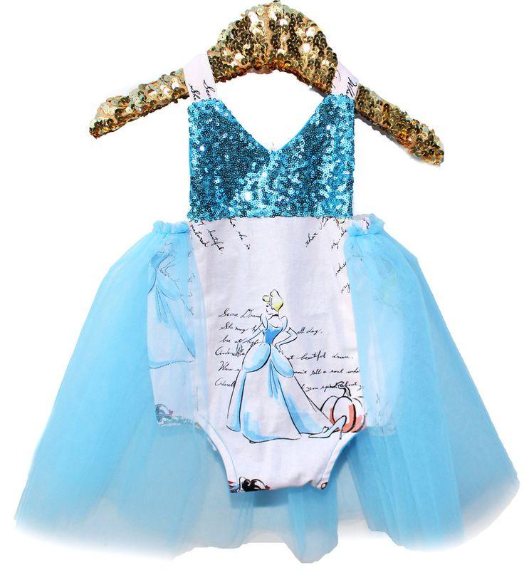 A Princess Story Blue Sparkle Tutu Romper Baby and Toddler Halloween Costume  #bellethreadspinterest