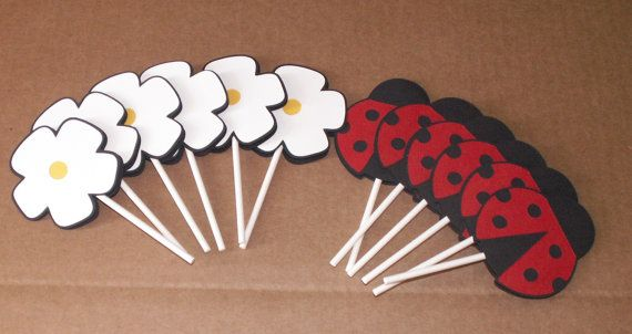 ladybug and flower cupcake toppers