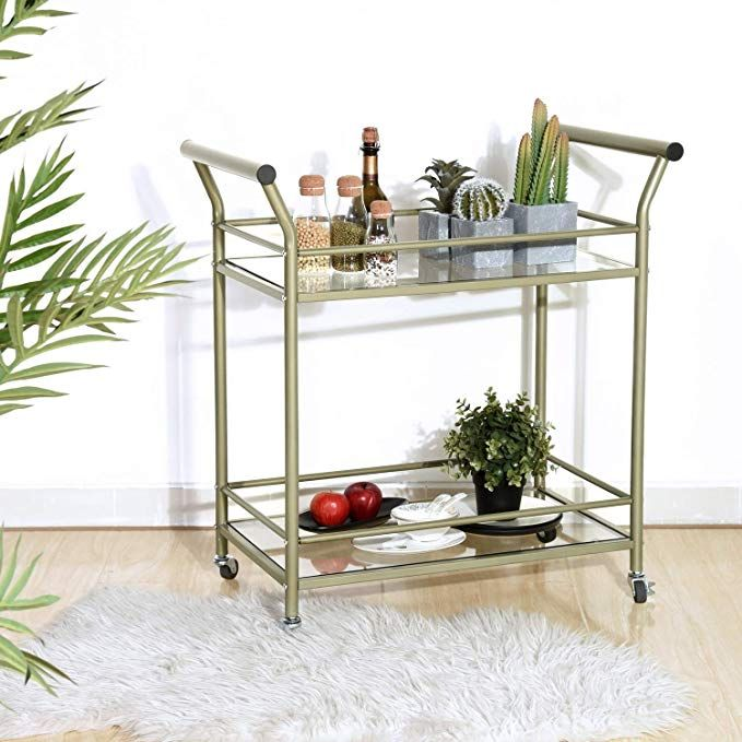 d25eb28d36dc eHomeProducts Champagne Finish 2-tier Glass Serving Wine Tea Cart ...