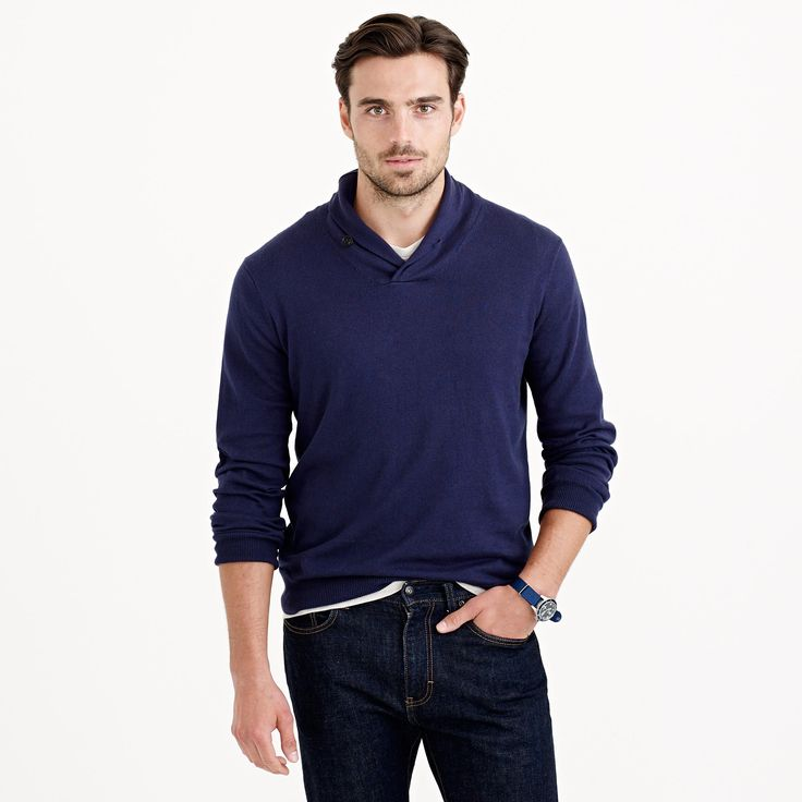 Cotton-cashmere shawl-collar sweater : cotton-cashmere   J.Crew