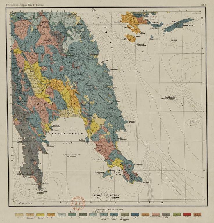 Γεωλογικός χάρτης της Λακωνίας από τη διατριβή του  Alfred Philippson για την Πελοπόννησο (1892)